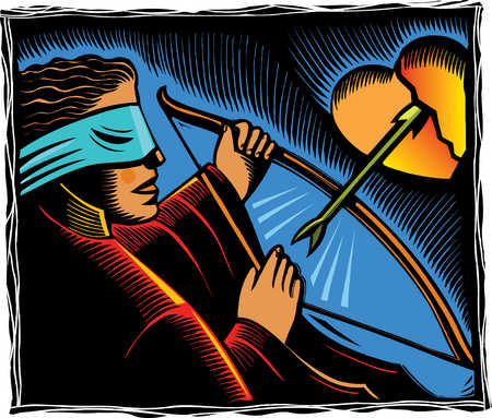 Blindfolded woman shooting arrow into heart