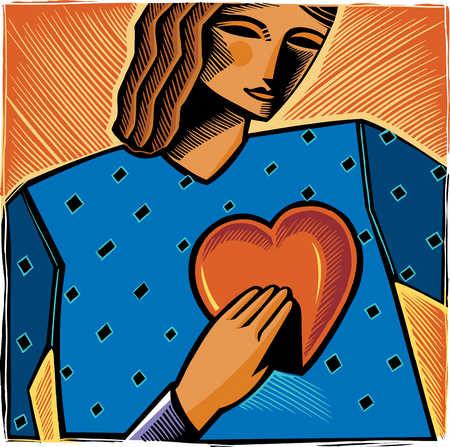 Hand taking woman's heart