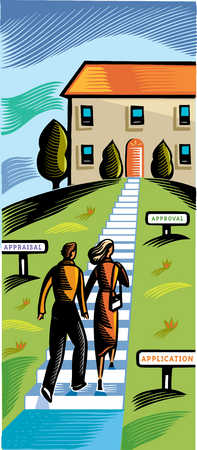 Young couple climbing stairs towards house