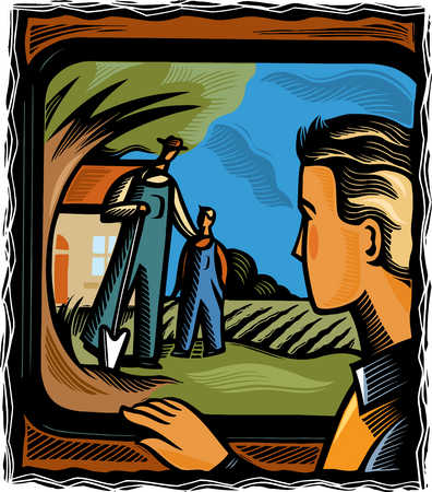 Farmer and son watching young man leave in car