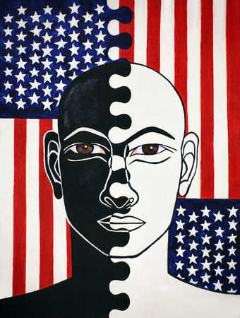 Portrait of man with half black and half white face in front of American flag