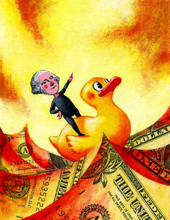George Washington riding rubber duck over dollar waves