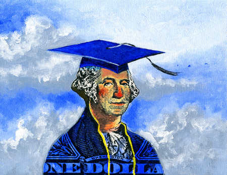 George Washington in cap and gown covered by dollar bill