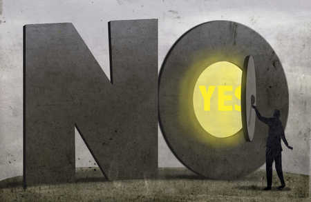Person opening 'no' sign revealing 'yes'