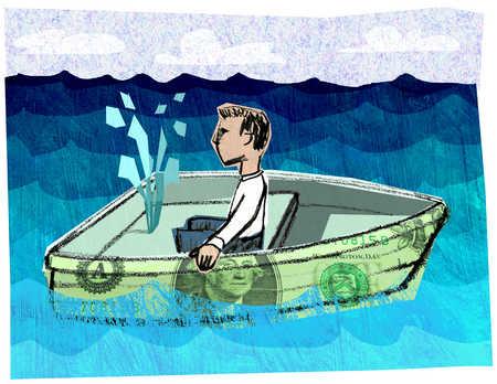 Man in sinking dollar boat