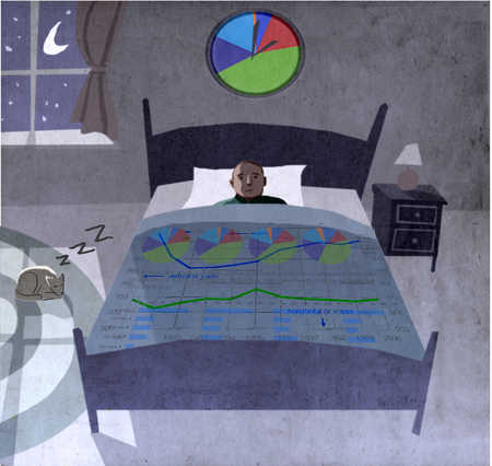 Businessman laying in bed overwhelmed by surrounding data