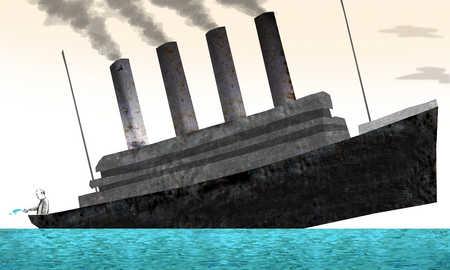 Man on sinking ship