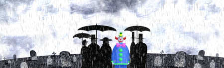 Clown standing among mourners at cemetery