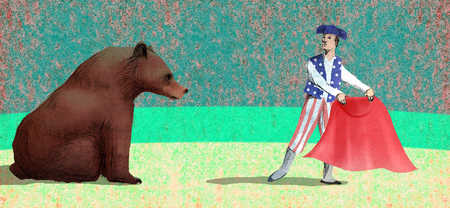 Matador in American flag costume luring bear