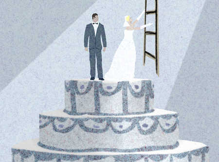 Groom watching bride ascend ladder on wedding cake