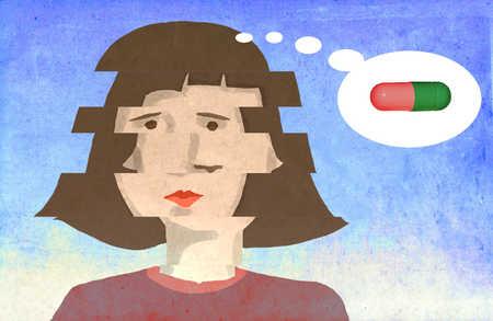 Woman thinking of medication