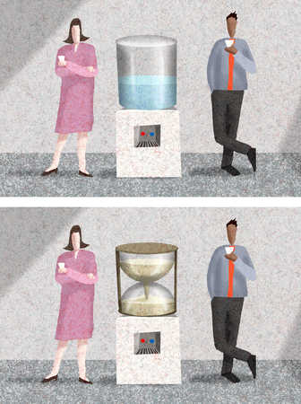 Business people standing near water cooler and hourglass