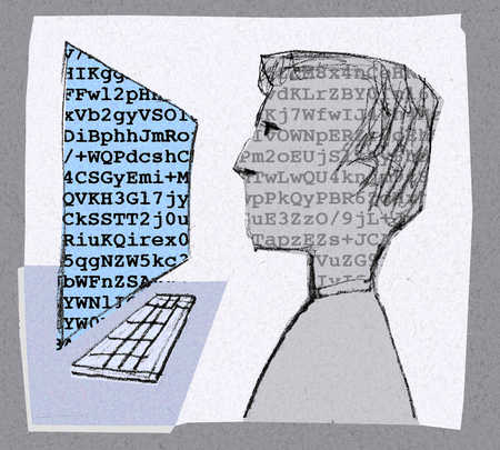 Man looking at letters and numbers on computer screen