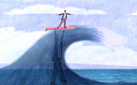 Businessman underneath wave supporting businessman surfing