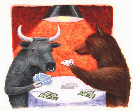 Bear and bull playing poker