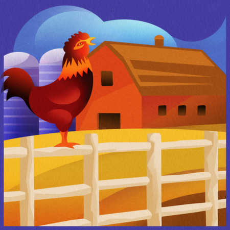 Rooster crowing on fence with barn in background