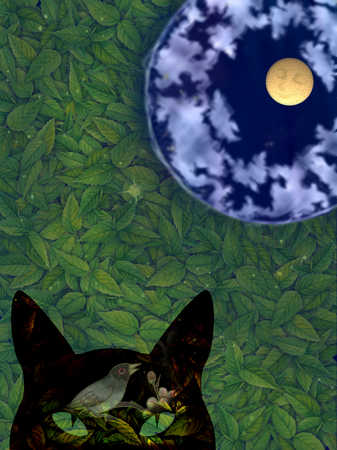 Bird inside cat's head underneath sleeping moon