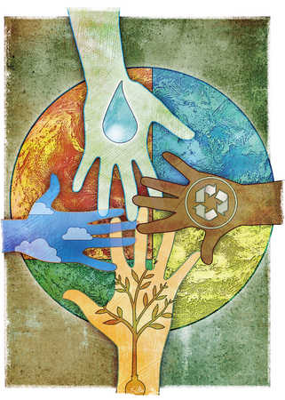 Hands with earth and recycling images touching globe