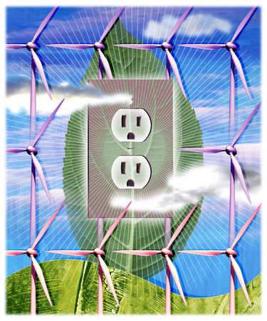 Electrical outlet powered by wind turbines
