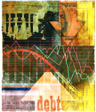 Roller coaster with debt arrow, White House, and finance images