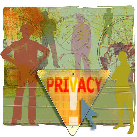 People standing behind privacy sign