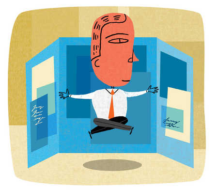 Cross-legged businessman levitating in office