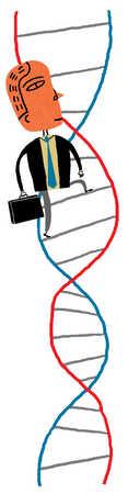 Businessman climbing DNA ladder