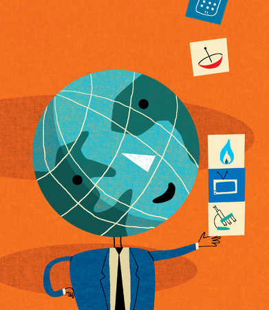 Anthropomorphic globe holding technology cubes