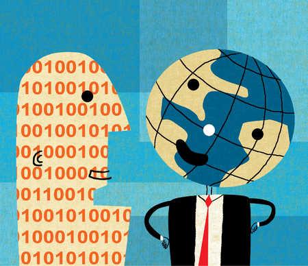 Anthropomorphic globe talking to binary code man