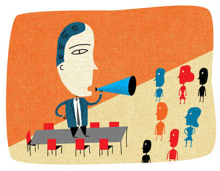 Large businessman with bullhorn talking to small business people