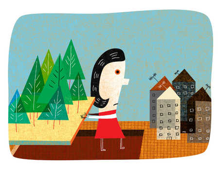 Woman standing between forest and urban housing