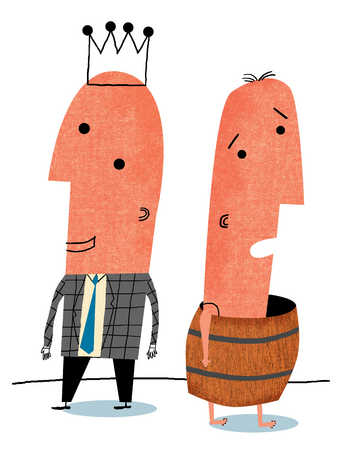 Businessman with crown standing next to man in barrel