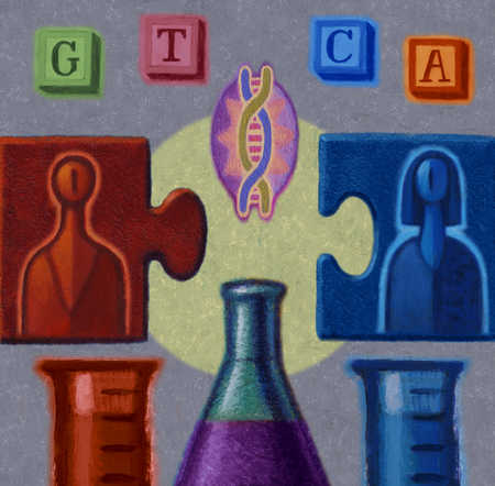 Puzzle piece of man and woman separated by DNA and beakers