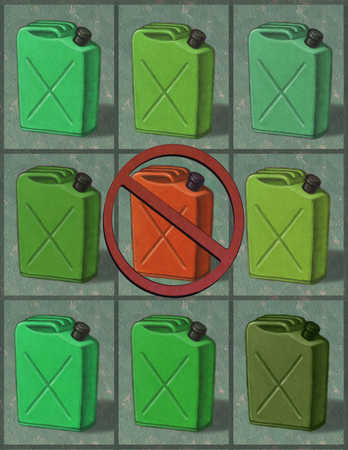 Green gas cans surrounding red gas can covered by slash mark