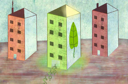 Dollar signs emerging from green high-rise building