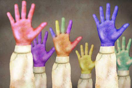 Multi-color raised hands