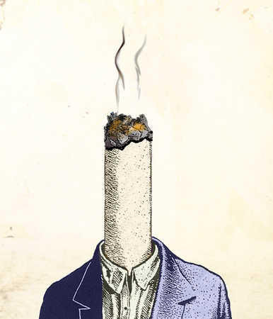 Man with burning cigarette for head