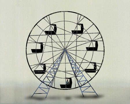 Person riding ferris wheel alone