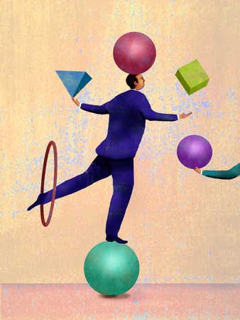 Businessman balancing on ball and juggling shapes