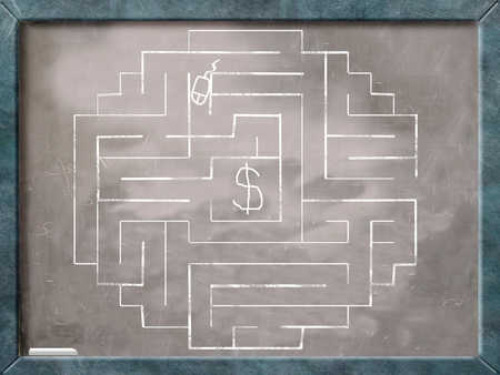 Computer mouse working through labyrinth toward dollar sign