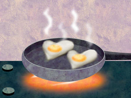Heart-shaped eggs cooking in pan