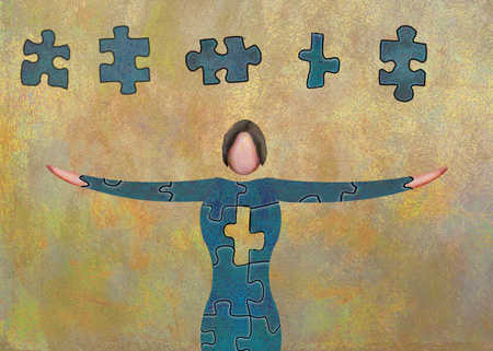 Woman Made Of Puzzle Pieces With Overhead