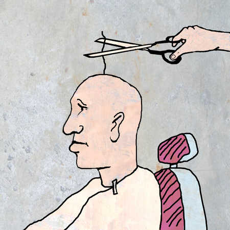 Barber cutting only strand of hair on man's head