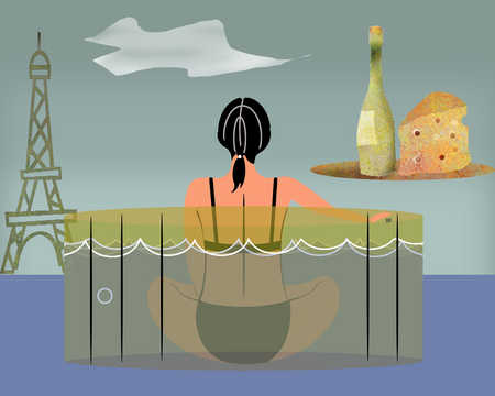 Woman in hot tub looking at Eiffel Tower and plate of wine and cheese