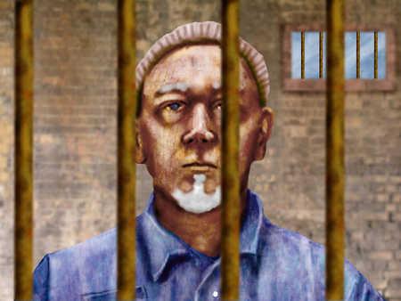 Prisoner standing behind bars