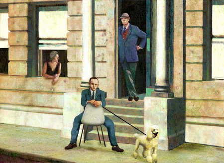 Businessman on urban stoop with poodle