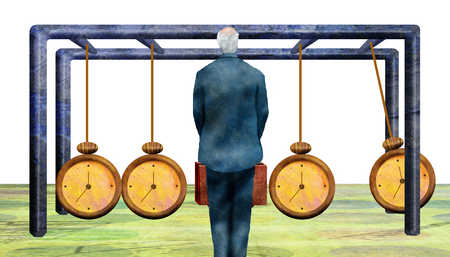 Senior businessman watching clocks on Newton's cradle