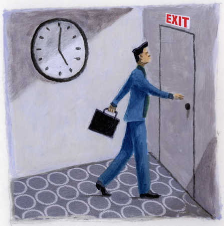 Businessman approaching exit door at quitting time