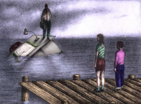 Children on pier looking at businessman on sinking desk
