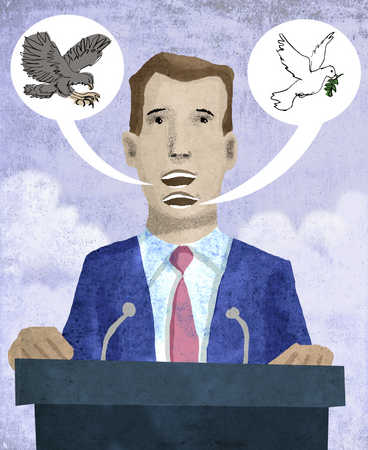 Politician with two mouths and contrasting hawk and dove images overhead